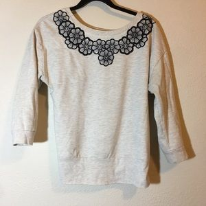 Anthropologie Saturday Sunday gray floral top <